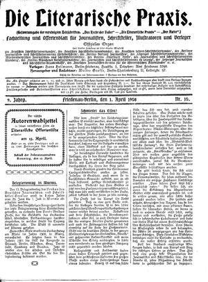 ˜Dieœ literarische Praxis vom 01.04.1908