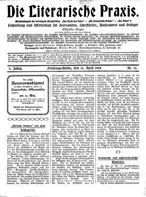 ˜Dieœ literarische Praxis vom 21.04.1908