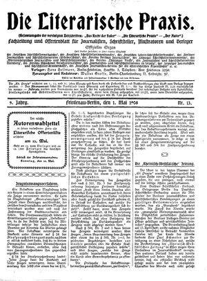 ˜Dieœ literarische Praxis vom 01.05.1908