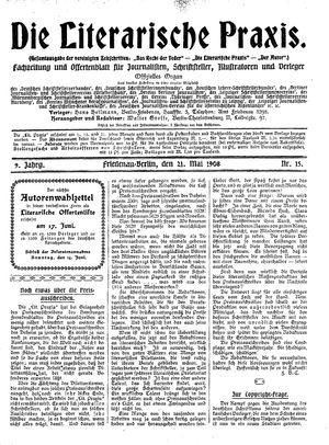 ˜Dieœ literarische Praxis vom 21.05.1908