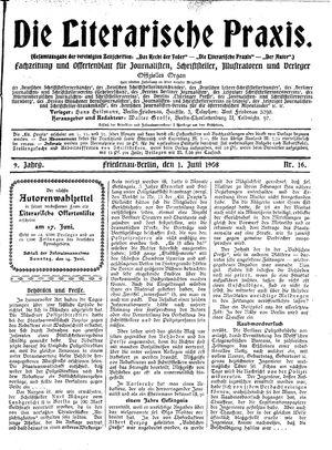 ˜Dieœ literarische Praxis vom 01.06.1908