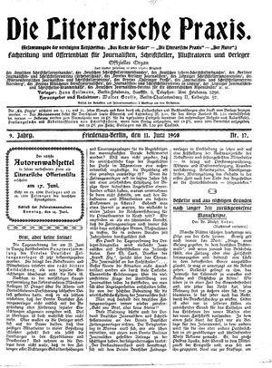 ˜Dieœ literarische Praxis vom 11.06.1908