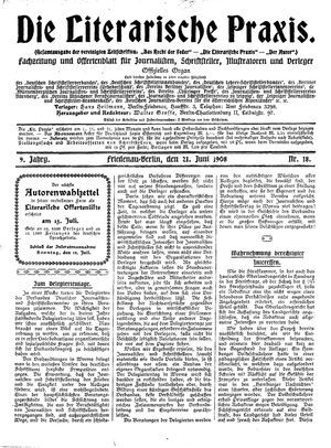 ˜Dieœ literarische Praxis vom 21.06.1908