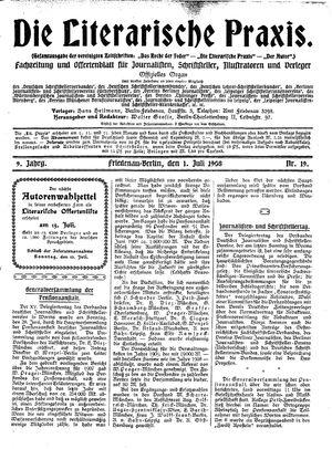 ˜Dieœ literarische Praxis vom 01.07.1908