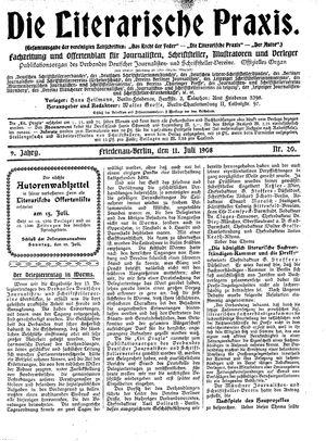 ˜Dieœ literarische Praxis vom 11.07.1908
