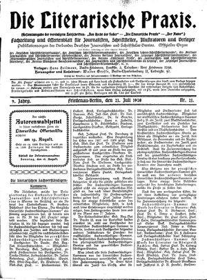 ˜Dieœ literarische Praxis vom 21.07.1908