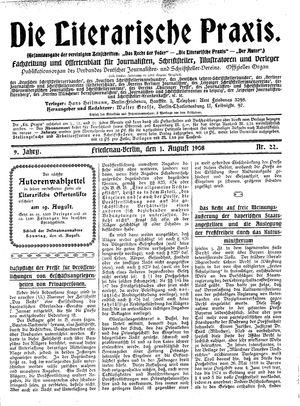 ˜Dieœ literarische Praxis vom 01.08.1908