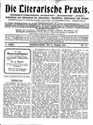 ˜Dieœ literarische Praxis vom 11.08.1908