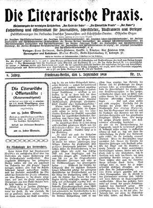 ˜Dieœ literarische Praxis vom 01.09.1908