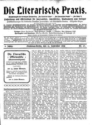 ˜Dieœ literarische Praxis vom 21.09.1908