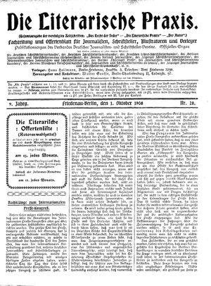 ˜Dieœ literarische Praxis vom 01.10.1908