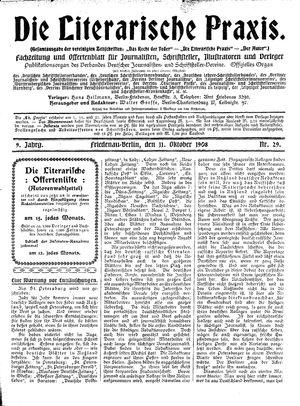 ˜Dieœ literarische Praxis vom 11.10.1908