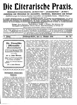 ˜Dieœ literarische Praxis vom 21.10.1908