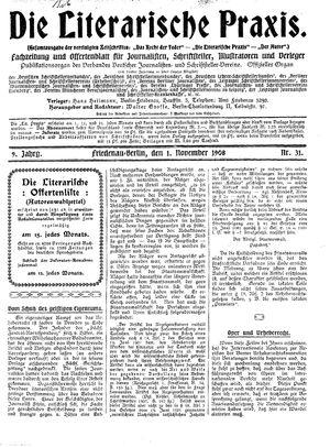 ˜Dieœ literarische Praxis vom 01.11.1908