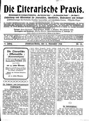 ˜Dieœ literarische Praxis vom 11.11.1908