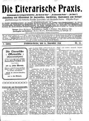 ˜Dieœ literarische Praxis vom 21.11.1908