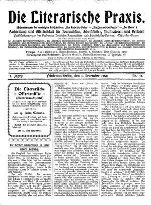 ˜Dieœ literarische Praxis vom 01.12.1908