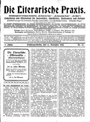 ˜Dieœ literarische Praxis vom 11.12.1908