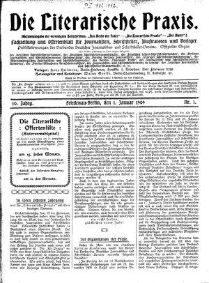 ˜Dieœ literarische Praxis vom 01.01.1909