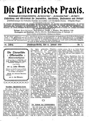 ˜Dieœ literarische Praxis vom 11.01.1909