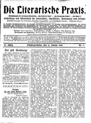 ˜Dieœ literarische Praxis vom 21.01.1909