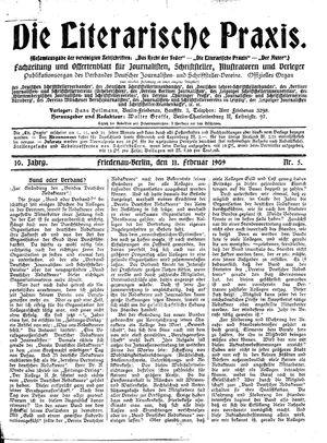 ˜Dieœ literarische Praxis vom 11.02.1909