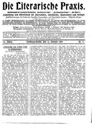 ˜Dieœ literarische Praxis vom 21.02.1909