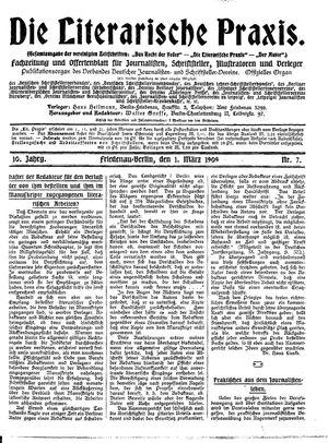 ˜Dieœ literarische Praxis vom 01.03.1909