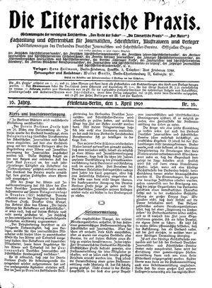 ˜Dieœ literarische Praxis vom 01.04.1909