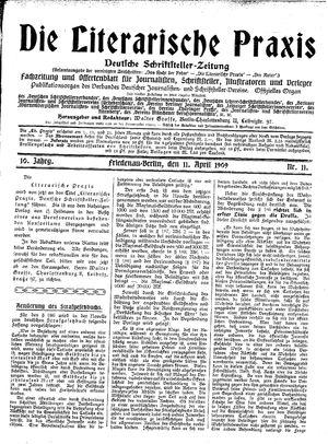 ˜Dieœ literarische Praxis vom 11.04.1909