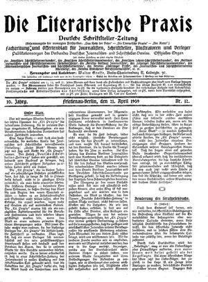 ˜Dieœ literarische Praxis vom 21.04.1909