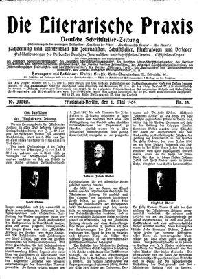 ˜Dieœ literarische Praxis vom 01.05.1909