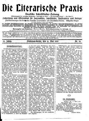 ˜Dieœ literarische Praxis vom 11.05.1909