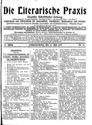 ˜Dieœ literarische Praxis vom 21.05.1909