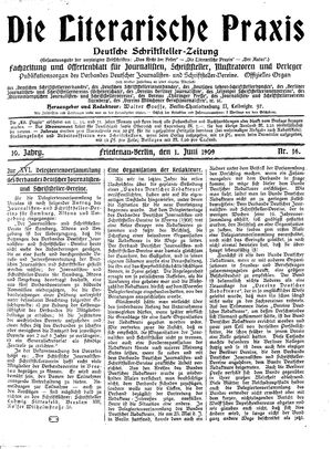 ˜Dieœ literarische Praxis vom 01.06.1909