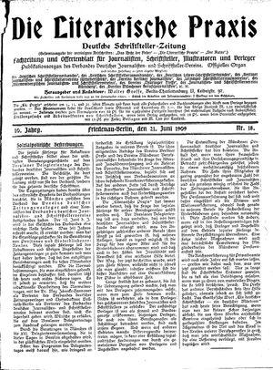 ˜Dieœ literarische Praxis vom 21.06.1909