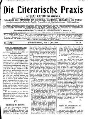 ˜Dieœ literarische Praxis on Jul 1, 1909
