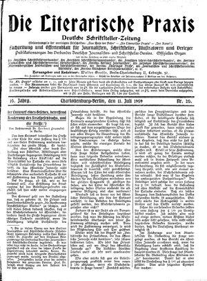 ˜Dieœ literarische Praxis vom 11.07.1909