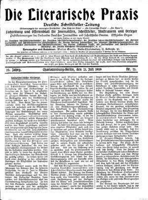 ˜Dieœ literarische Praxis vom 21.07.1909