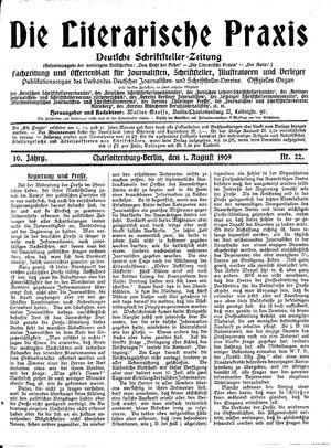 ˜Dieœ literarische Praxis vom 01.08.1909