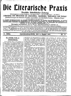 ˜Dieœ literarische Praxis vom 11.08.1909