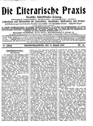˜Dieœ literarische Praxis vom 21.08.1909