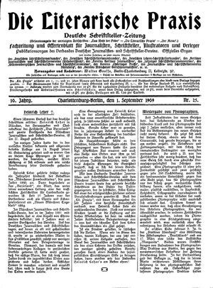 ˜Dieœ literarische Praxis vom 01.09.1909