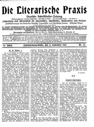 ˜Dieœ literarische Praxis vom 11.09.1909