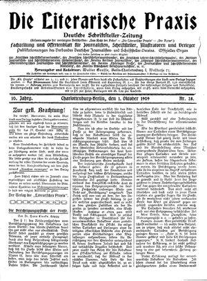 ˜Dieœ literarische Praxis vom 01.10.1909
