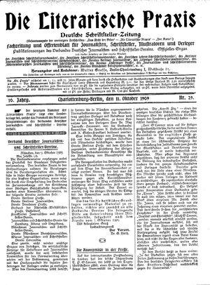 ˜Dieœ literarische Praxis vom 11.10.1909