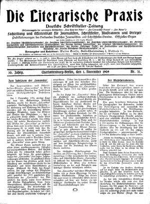 ˜Dieœ literarische Praxis vom 01.11.1909