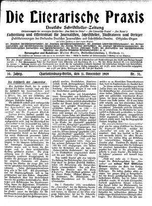 ˜Dieœ literarische Praxis vom 11.11.1909