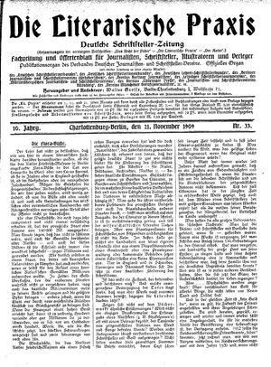 ˜Dieœ literarische Praxis vom 21.11.1909