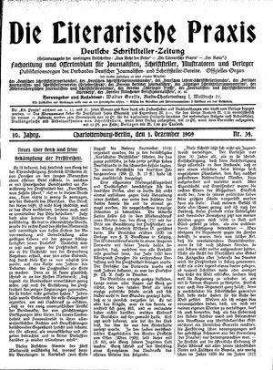 ˜Dieœ literarische Praxis vom 01.12.1909